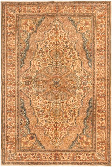 Bordered  Traditional Brown Area rug 6x9 Turkish Hand-knotted 281022