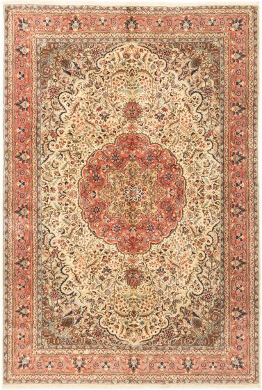 Bordered  Traditional Ivory Area rug 6x9 Turkish Hand-knotted 281069