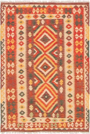 Bordered  Geometric Red Area rug 3x5 Turkish Flat-weave 297661