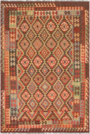 Bordered  Geometric Red Area rug 6x9 Turkish Flat-weave 297775