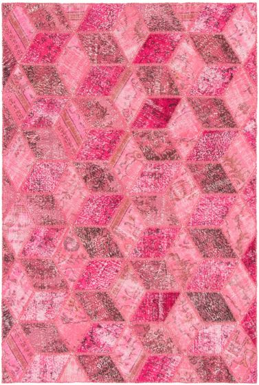 Casual  Transitional Pink Area rug 6x9 Turkish Hand-knotted 297978
