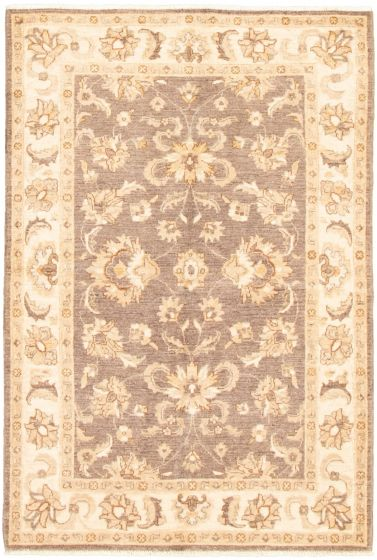 Bordered  Traditional Grey Area rug 3x5 Pakistani Hand-knotted 318672