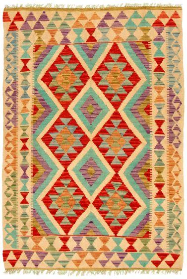 Bordered  Geometric Ivory Area rug 3x5 Turkish Flat-weave 330242