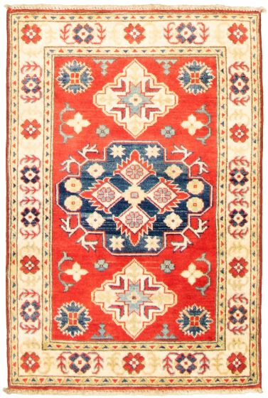 Bordered  Traditional Red Area rug 3x5 Afghan Hand-knotted 330302