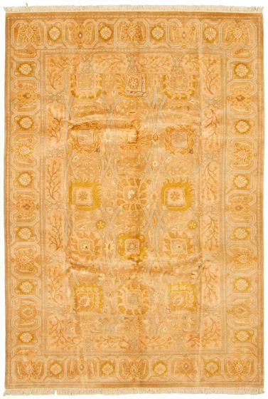 Bordered  Traditional Brown Area rug 5x8 Pakistani Hand-knotted 330501