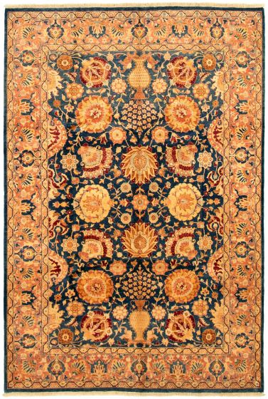 Bordered  Traditional Blue Area rug 5x8 Pakistani Hand-knotted 330516