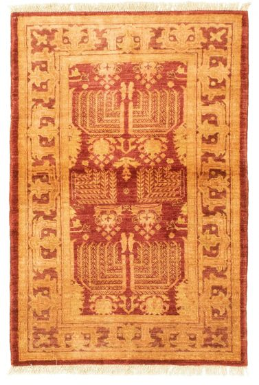 Bordered  Transitional Red Area rug 3x5 Pakistani Hand-knotted 331260