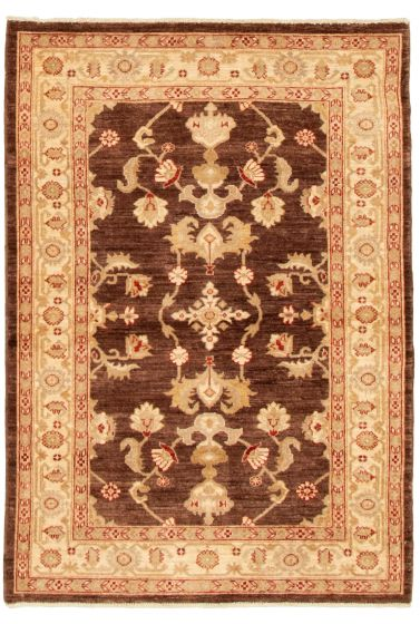 Bordered  Traditional Brown Area rug 3x5 Afghan Hand-knotted 331526