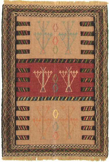 Bordered  Tribal Brown Area rug 3x5 Turkish Flat-weave 334951