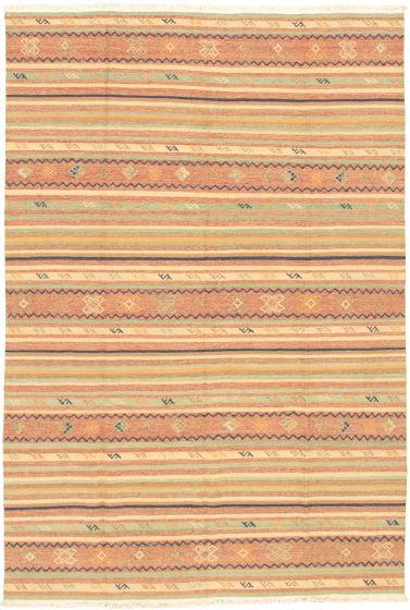 Bohemian  Transitional Green Area rug 5x8 Turkish Flat-weave 335887