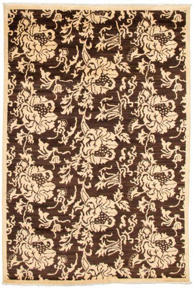 Casual  Transitional Brown Area rug 5x8 Pakistani Hand-knotted 339018