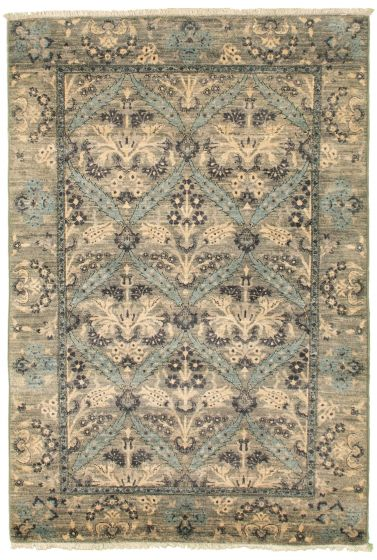 Traditional  Transitional Grey Area rug 3x5 Pakistani Hand-knotted 342183