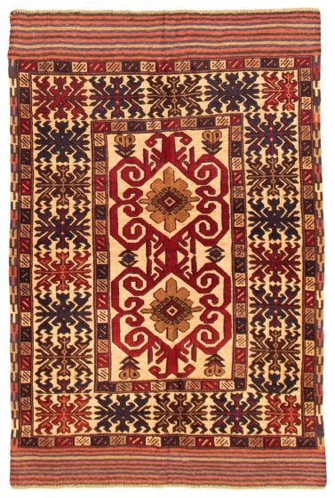 Bordered  Tribal Red Area rug 3x5 Afghan Hand-knotted 342634