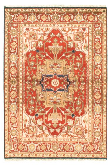 Bordered  Traditional Red Area rug 3x5 Indian Hand-knotted 344868