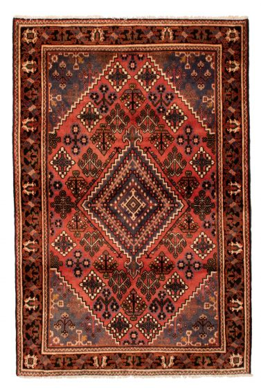 Bordered  Traditional Brown Runner rug 7-ft-runner Persian Hand-knotted 352143