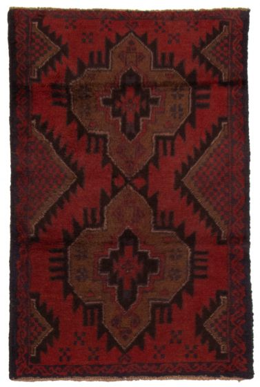 Bordered  Tribal Red Area rug 3x5 Afghan Hand-knotted 357169