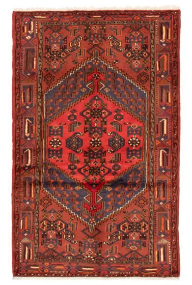 Bordered  Traditional Red Area rug 4x6 Persian Hand-knotted 358545