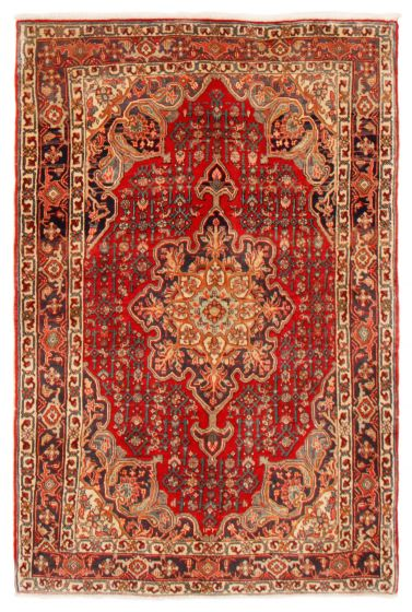 Bordered  Traditional Red Area rug 3x5 Persian Hand-knotted 366442