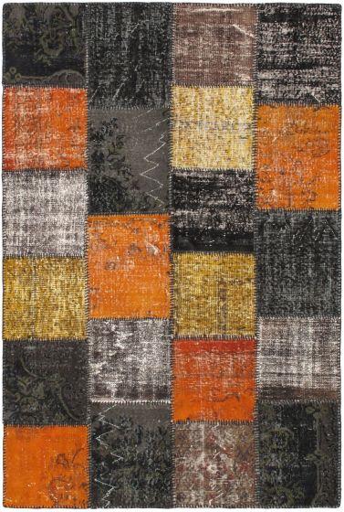 Transitional Black Area rug 5x8 Turkish Handmade 56404