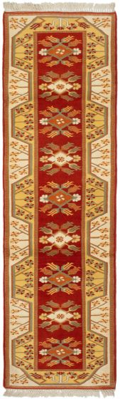 Bordered  Traditional Brown Runner rug 10-ft-runner Turkish Hand-knotted 293717