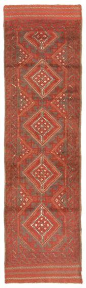 Bordered  Tribal Red Runner rug 8-ft-runner Afghan Hand-knotted 342610