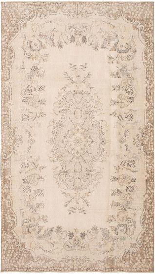 Bordered  Vintage Ivory Area rug 6x9 Turkish Hand-knotted 295908