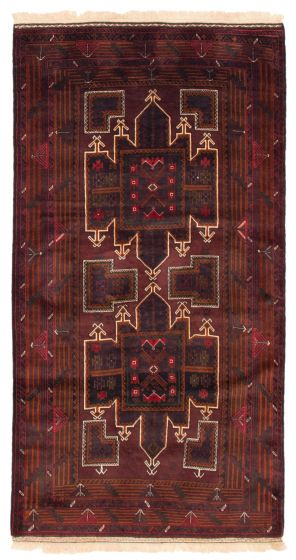 Bordered  Tribal Red Area rug 5x8 Afghan Hand-knotted 352066