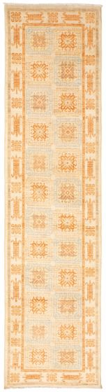 Bordered  Traditional Blue Runner rug 10-ft-runner Pakistani Hand-knotted 338748