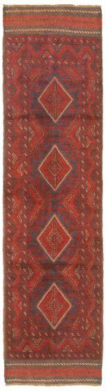 Bordered  Tribal Red Runner rug 8-ft-runner Afghan Hand-knotted 342496
