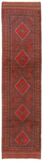 Bordered  Tribal Red Runner rug 9-ft-runner Afghan Hand-knotted 342994