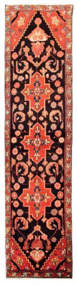 Bordered  Traditional Black Runner rug 10-ft-runner Turkish Hand-knotted 353690
