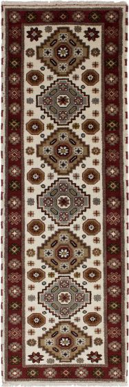 Traditional Ivory Runner rug 8-ft-runner Indian Hand-knotted 233317