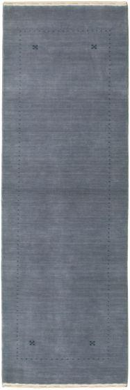 Gabbeh  Tribal Blue Runner rug 8-ft-runner Indian Hand-knotted 336022