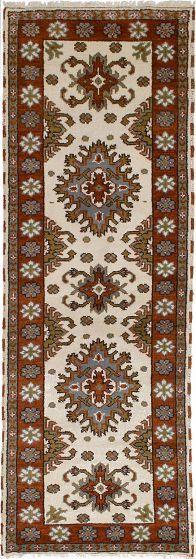 Bordered  Tribal Ivory Runner rug 8-ft-runner Indian Hand-knotted 233110