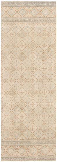 Transitional Yellow Runner rug 12-ft-runner Turkish Hand-knotted 328508