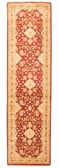 Bordered  Traditional Red Runner rug 10-ft-runner Afghan Hand-knotted 331633