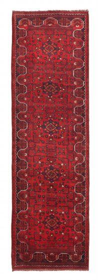 Bordered  Tribal Red Runner rug 10-ft-runner Afghan Hand-knotted 342283