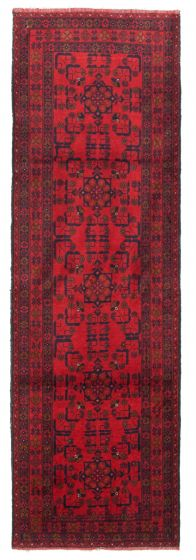 Bordered  Traditional Red Runner rug 10-ft-runner Afghan Hand-knotted 342354