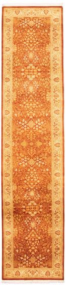 Bordered  Traditional Brown Runner rug 12-ft-runner Pakistani Hand-knotted 330315