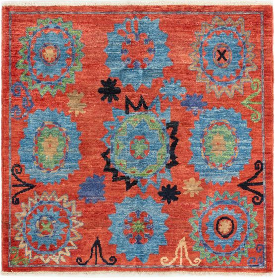 Casual  Transitional Brown Area rug Square Indian Hand-knotted 280626