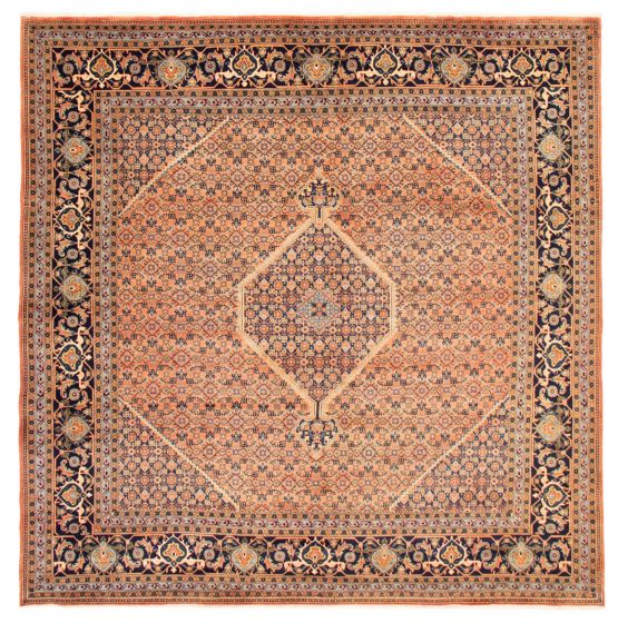 Bordered  Traditional Brown Area rug Square Persian Hand-knotted 366588