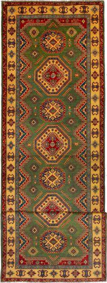 Bordered  Traditional Green Runner rug 21-ft-runner Afghan Hand-knotted 272496