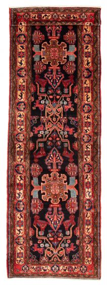 Bordered  Traditional Blue Runner rug 14-ft-runner Persian Hand-knotted 358649
