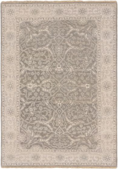 Traditional Grey Area rug 5x8 Indian Hand-knotted 164064