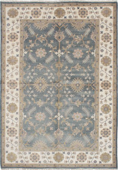 Floral  Traditional Grey Area rug 5x8 Indian Hand-knotted 219060