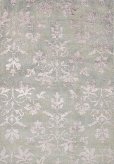 Transitional Green Area rug 5x8 Indian Hand-knotted 221921