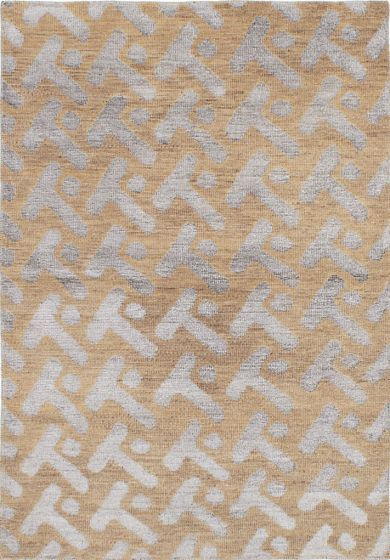 Transitional Ivory Area rug 4x6 Indian Hand-knotted 222027
