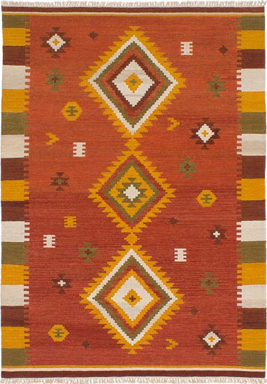 Flat-weaves & Kilims  Traditional Brown Area rug 5x8 Turkish Flat-weave 228402