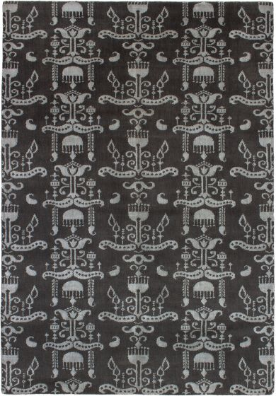 Casual  Contemporary Grey Area rug 5x8 Indian Hand-knotted 271758