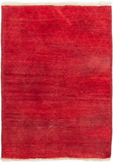 Casual  Transitional Red Area rug 3x5 Indian Hand-knotted 280021